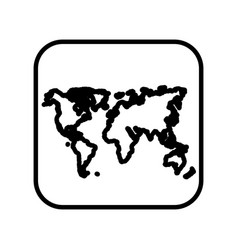 Monochrome contour square with world map vector