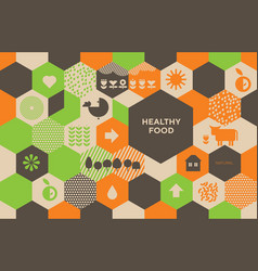 natural eco food icons in grid order vector image