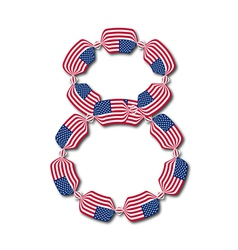 Number 8 made of USA flags in form of candies vector image