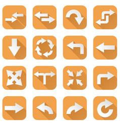 orange set of arrow icons vector image