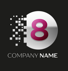 pink number eight logo in the silver pixel circle vector image
