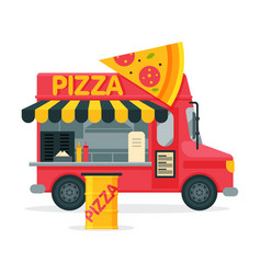 Pizza food truck street meal van fast food vector