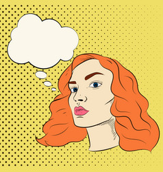 pretty girl cartoon in pop art vector image