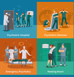 psychiatric illnesses concept icons set vector image