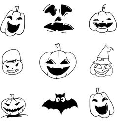 Pumpkins Halloween in doodle vector