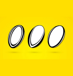 rugby ball outline cartoon sport graphic vector image