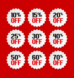 Sale tags from 10 to 70 percent vector