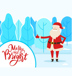 santa in winter park merry and bright vector image