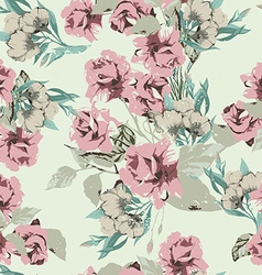 Seamless floral pattern with pastel pink roses vector image