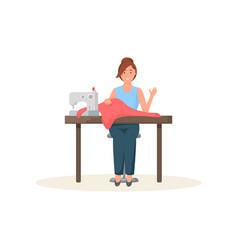 Seamstress sitting at sewing machine and greeting vector