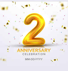 Second anniversary birth celebration number vector