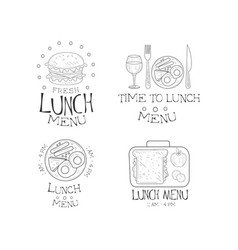 set of 4 hand drawn emblems for cafe time vector image