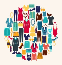 Set of woman clothes and accessories vector
