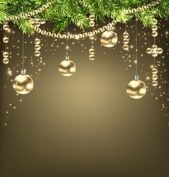 Shimmering Background with Fir Branches and Golden vector