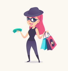 Smiling redhead spy female as mystery shopper in vector