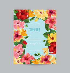Spring and summer greeting card with frame vector