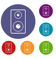 Subwoofer icons set vector