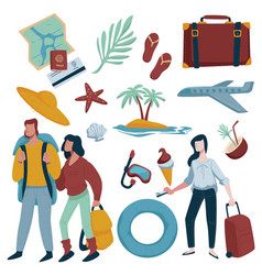 summer vacation traveling items couple and woman vector image