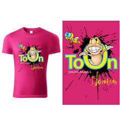 T-shirt design with cartoon worm vector