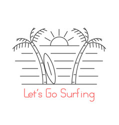 Thin line beach with surfboard vector
