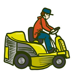 Tractor grass cutter icon hand drawn style vector