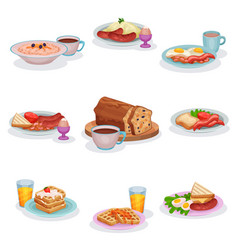 Traditional english breakfast dishes set oatmeal vector