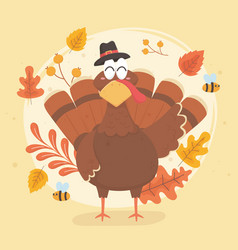 Turkey with pilgrim hat happy thanksgiving vector