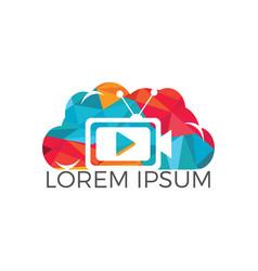 Tv cloud logo design vector