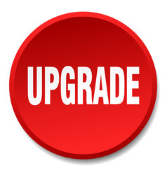 Upgrade red round flat isolated push button vector