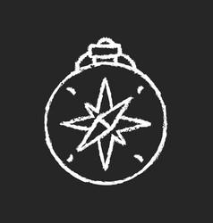 vintage style compass chalk white icon on dark vector image