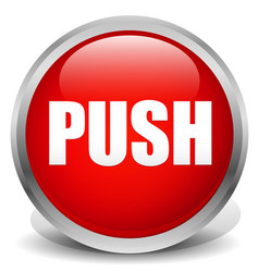 with thick metallic frame red push button vector image