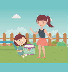 Woman and boy playing drum in grass kids toys vector