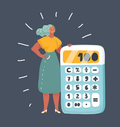 Woman with a big calculator vector