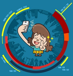 Young girl taking photo on smartphone vector image