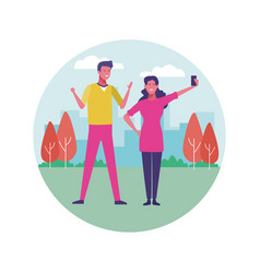 Young people having fun outdoors vector