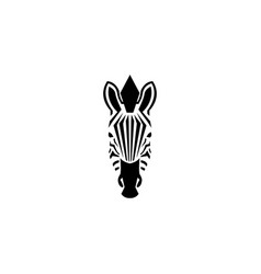 zebra head logo negative space style vector image