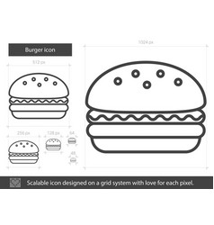 burger line icon vector image vector image