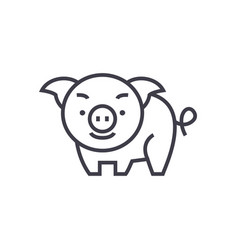 cute pig line icon sign on vector image vector image