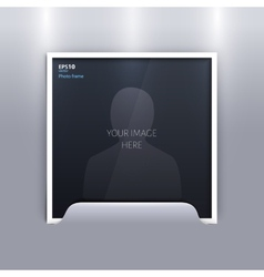 Empty photo frame on grey background vector image
