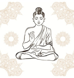Hand drawn Buddha in meditation on vintage vector image vector image
