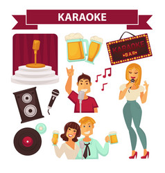 karaoke club party icon attributes poster on white vector image