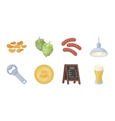 pub interior and equipment icons in set vector image vector image