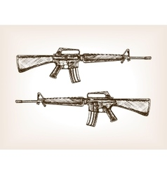 Automatic rifle hand drawn sketch vector image