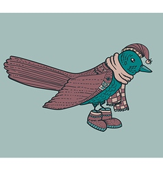 Blue cartoon bird with hat vector image