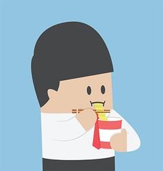 Businessman eating instant noodle cups vector image