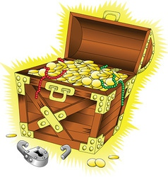 Cartoon treasure chest vector image vector image