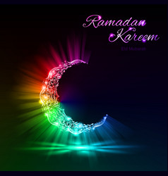 Greeting card of holy muslim month ramadan with ma vector