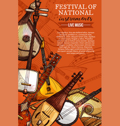 Music festival national instruments poster vector