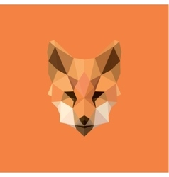 Orange Fox head Polygon Design style f modern logo vector image