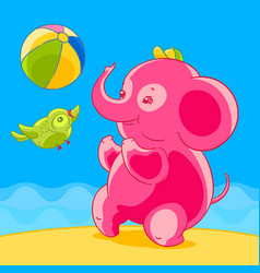 pink elephant and bird in cartoon style playing vector image vector image